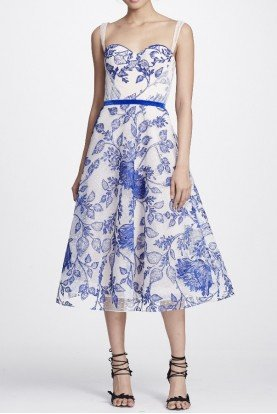 Marchesa Notte Ivory Blue Sleeveless Floral Midi Tea Dress