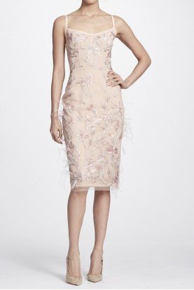 Blush Pink Feather Embroidered Sleeveless Dress