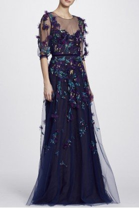 Navy Blue Floral Beaded Short Sleeve Gown