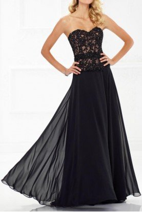 118971 Black Strapless Beaded Chiffon A Line Gown