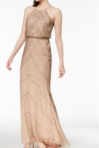 Adrianna Papell Halter Beaded Blouson Gown Taupe Pink Wavy