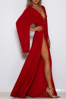 Shari Red Dress Kimono Sleeve Deep V Neck Gown