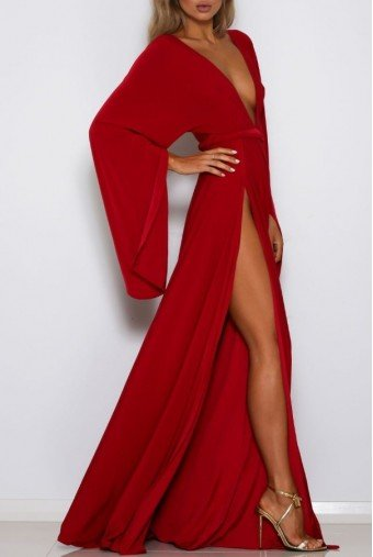 Abyss by Abby Shari Red Dress Kimono Sleeve Deep V Neck Gown
