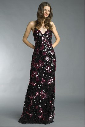 Basix Black Label D8727L Sequin Black Red Piattes Evening Gown Dress