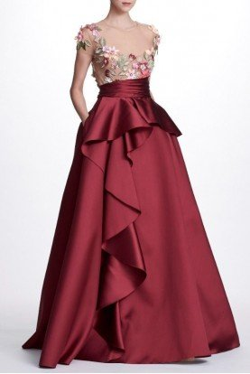 N23G0597 3D Floral Embroidered Mikado Ball Gown