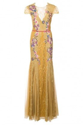 Marchesa Notte N24G0643 Gold Floral Embroidered Gown