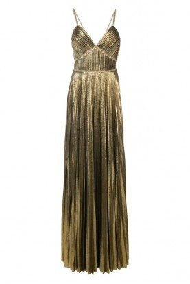 Marchesa Notte N26G0757 Gold Metallic Pleated Evening Gown