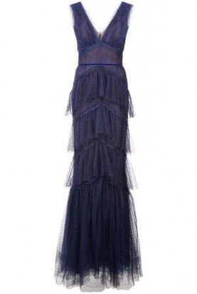 Marchesa Notte N26G0713 Tiered Lace Evening Gown in Navy Blue