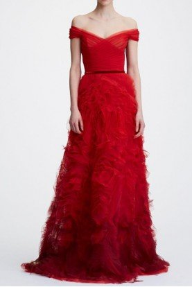 Marchesa Notte N26G0724 Red Off the Shoulder Ombre Textured Gown