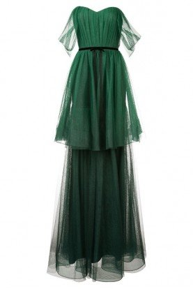 Marchesa Notte N26G0721 Off the Shoulder Ombre Tulle Tiered Gown