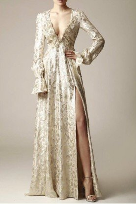 Modest Long Sleeve Gold Devore Gown