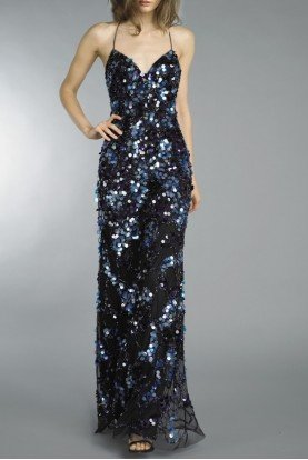D8727L Blue Black Chunky Sequin Piattes Gown