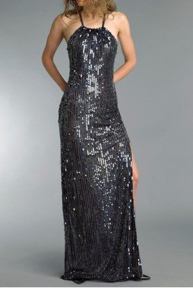D8729L  Navy Metallic Sequin Halter Gown