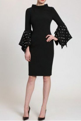 Black Pearl Sleeve Sheath Dress