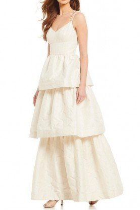 Adrianna Papell Ivory Gold Tiered Metallic Jacquard Wedding Gown