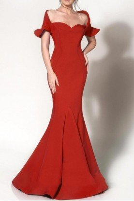 MNM Couture Red Fitted Off Shoulder Gown