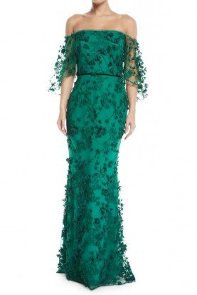 Marchesa Notte N24G0658 Green Embroidered Off the Shoulder Gown