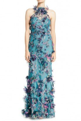 3D Floral Halter Gown with Embroidery