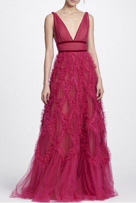Marchesa Notte Berry Pink Lattice V Neck Textured Gown