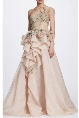 One Shoulder Floral Blush Tulle A Line Ball Gown