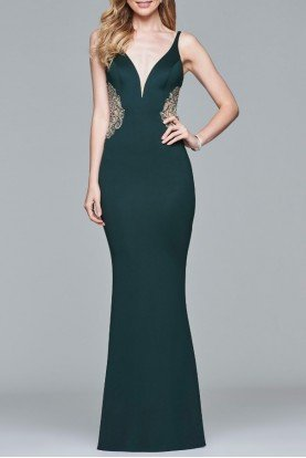 S7916 Emerald Green Neoprene V Neck Gown