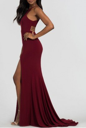 7976 Red Halter Cutout Evening Gown Dress w Slit