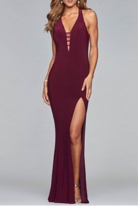 Faviana Burgundy Wine Jersey Evening Gown Formal Dress