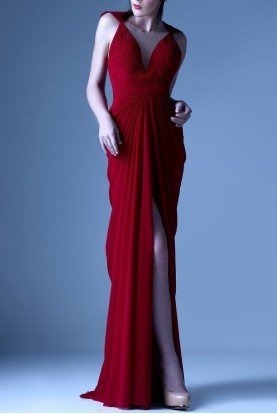 Gaby Charbachy Red Pleated Chiffon Gown Evening Dress