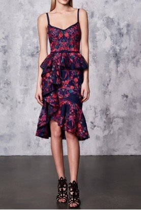 SALE Navy Wine Floral Scuba Ruffle Cocktail Dress