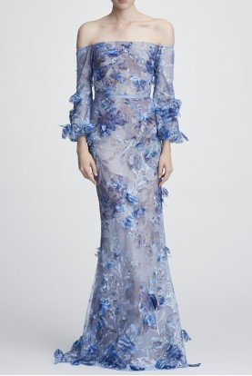 Marchesa Notte Light Blue Off the Shoulder Embroidered Gown