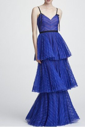 Marchesa Notte Royal Blue Sleeveless Striped Lace Tiered Gown
