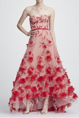 Marchesa Notte Red Strapless Embroidered Hi Lo Gown