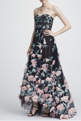 Marchesa Notte Black Flower Embroidered Strapless Hi Lo Gown