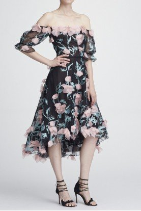 Marchesa Notte Black Off the Shoulder Floral Hi Lo Cocktail Dress