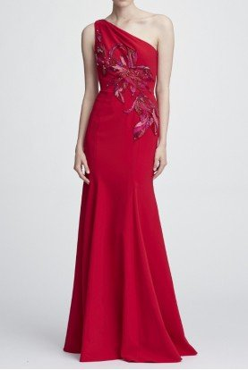Marchesa Notte Red One Shoulder Stretch Crepe Gown