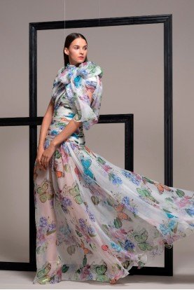 Butterfly Print Silk Evening Gown