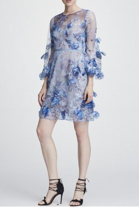 Marchesa Notte Light Blue Long Sleeve Embroidered Cocktail Dress
