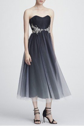 Marchesa Notte Strapless Black Ombre Tulle Midi Tea Dress