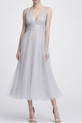 Marchesa Notte Silver V Neck Glitter Tulle Midi Tea Dress