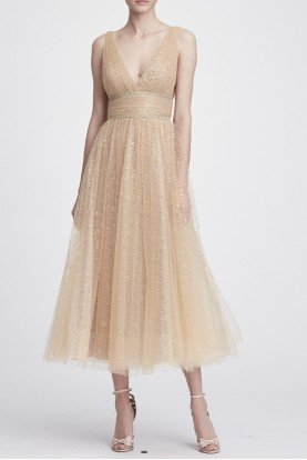 Champagne Gold V Neck Glitter Tulle Midi Tea Dress