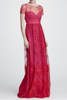 Pink Short Sleeve Chiffon and Lace Evening Gown