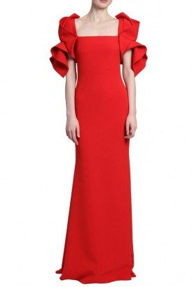 70eb86bc5d69d Badgley Mischka Red Flared Ruffle Sleeves Fitted Evening Gown · Badgley  Mischka