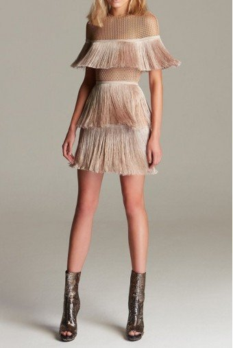 Vatanika Beige Gold Crepe Fringe Mini Cocktail Dress