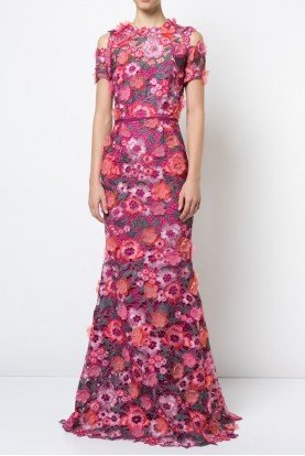 Marchesa Notte Berry Pink 3D Floral Lace Evening Gown N19G0530