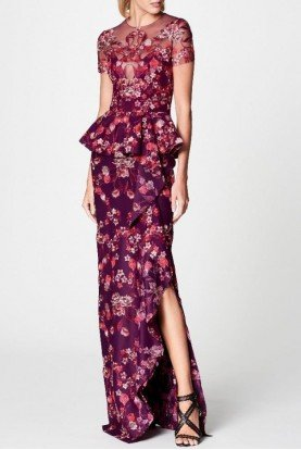 Marchesa Notte Embroidered Tulle And Jersey Peplum Evening Gown