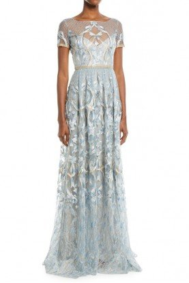 Marchesa Notte Light Blue Embroidered Gown Metallic Lace Trim