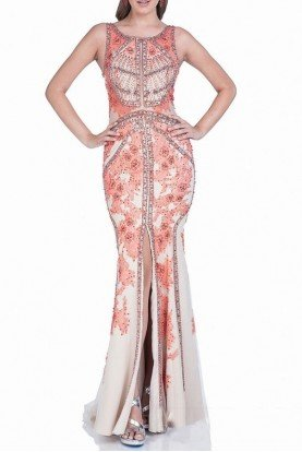 Terani Couture Coral Nude Embellished Evening Gown 1521GL0787A