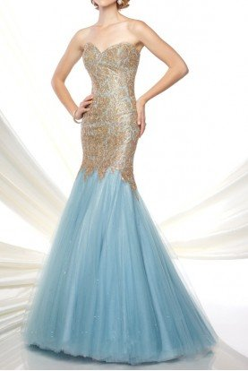 116D21 Aqua Gold Mermaid Evening Gown Dress