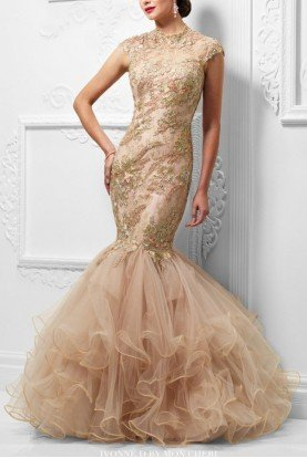 117D63 Blush Beaded Sleeveless Mermaid Gown Dress