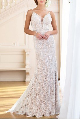 Mon Cheri 218172 White Nude Lace Gown Bridal Evening Dress